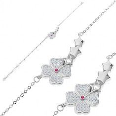 925 silver bracelet - glittery flower, three stars, small oval rings