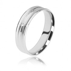 925 silver wedding ring - two matt cuts and a glossy stripe in the center, 5 mm