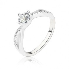 Engagement ring, 925 silver, wavy intertwined shoulders, clear zircon