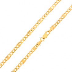 Gold chain - three oval eyelets, link with Greek key, 600 mm