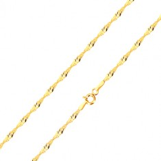 Yellow 585 gold chain - glossy rings of oval shape, spiral, 420 mm