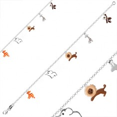 925 child silver bracelet - pendants with animal motif, round rings