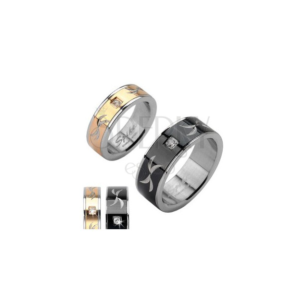 Stainless steel ring - band with zircon and engravings