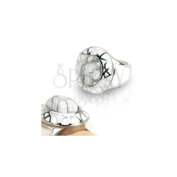 Steel ring for women - White Murano