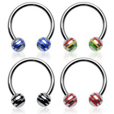 Horseshoe ring with striped ball beads