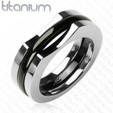 Three-layer titanium ring for men