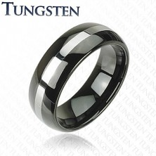Elegant tungsten ring - black with silver stripe, 8 mm