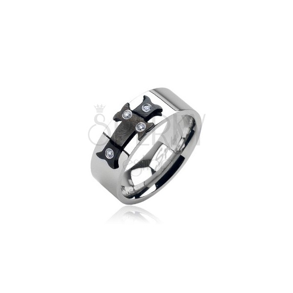 Steel ring with black cross and zircons