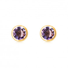 Earring made of 14K yellow gold – natural amethyst in a round bezel, shiny finish