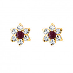 Earrings made of 9K yellow gold – flower with ruby, petals with clear zircon, studs