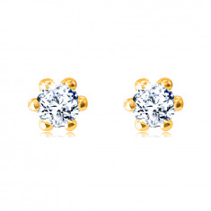 Earrings made of 14K yellow gold – glittery round zircon, outlined with glossy prongs