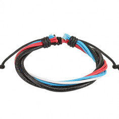 Multi-bracelet – two black leather straps, white, red and blue braided cord