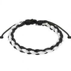 Leather bracelet – a plait, black braided strings, white leather strip, adjustable fastening