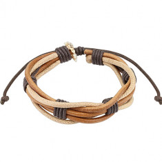 Multi-bracelet – three leather cinnamon-brown coloured strips, two beige coloured strings, tied sections