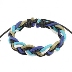 Adjustable string bracelet – a braid in colours white, turquoise, green, blue and black