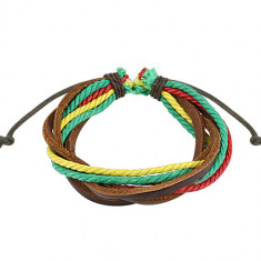 Leather bracelet in RASTA colours – intertwined strings, adjustable length
