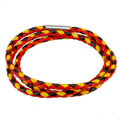 Braided three-coloured leather wrist bracelet – red, black and yellow colour