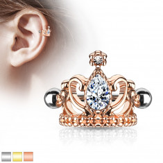 Steel ear piercing – royal crown with a teardrop, glossy barbell with beads