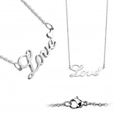 "Necklace made of steel – writing ""Love"", round links, smooth finish, lobster claw closure"