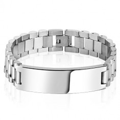 Steel bracelet in a silver colour – rectangle-shaped mirror-polished plate, smooth finish