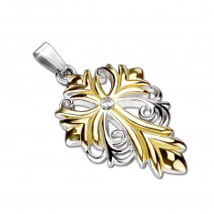 Steel pendant in the shape of a lily cross in a gold-silver colour – clear cut zircon in the centre