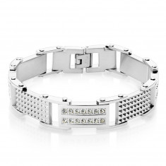 Steel bracelet in a silver colour – links with notches and round zircons, watch clasp fastening