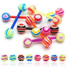 Multicolour stripe tongue barbell