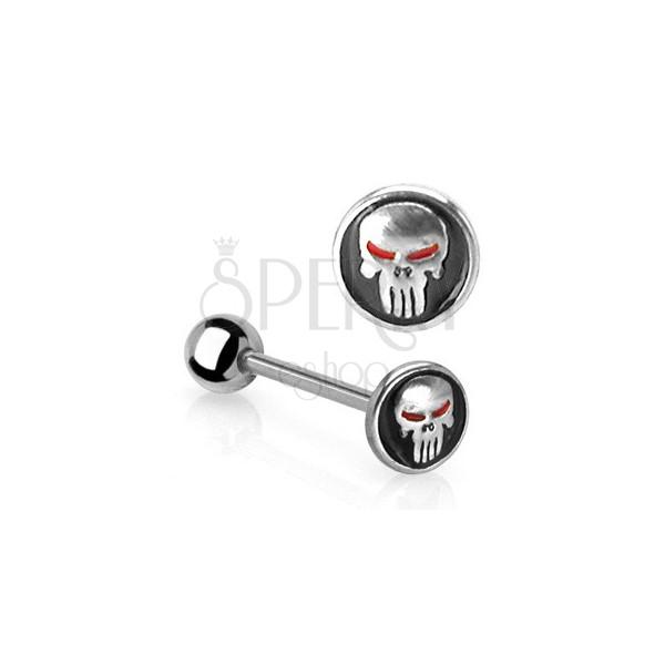 Tongue barbell - frightening skull
