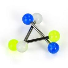 Titanium tongue piercing - balls in radiant colors
