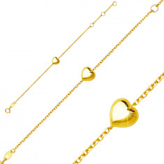 Children´s bracelet made of 9K yellow gold – shiny smooth heart, spring ring closure