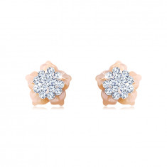 Golden 14K earrings – flower with Swarovski crystals, pink mother-of-pearl petals, studs