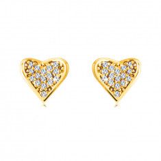 14K Golden earrings – heart paved with tiny round zircons, grips in the shape of dots