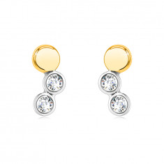 Earrings made of combined 14K gold – mirror-polished circle, round bezels with a zircon