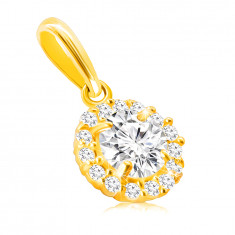 Pendant made of 14K gold – large round zircon in a mount with a transparent zircon line