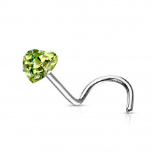 Curved nose stud with zircon heart