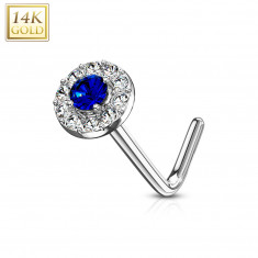 Curved nose piercing in 14K white gold – dark-blue zircon lined with zircons
