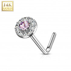 Nose piercing in 14K white gold – round light-pink zircon, zircon line, curved end