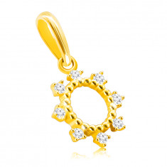 14K Golden pendant – ring with thin prongs, glittery round zircons