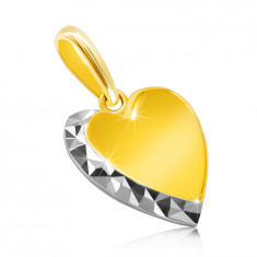 Pendant made of combined 14K gold – smooth heart, glittery line