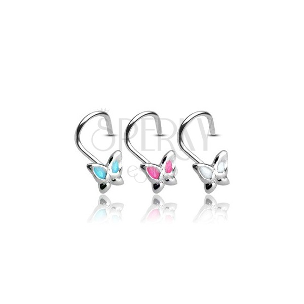 925 silver nose piercing - butterfly with glaze wings