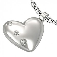 Stainless steel pendant - heart with zircons