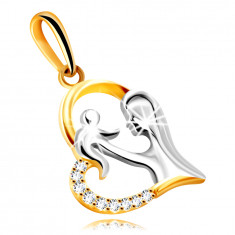 Diamond pendant in combined 14K gold – heart with a mother and a child, brilliants