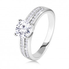 925 Silver ring, engagement – two zircon bands, round cut zircon in the centre