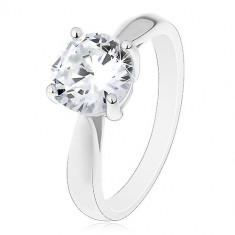 925 Silver engagement ring – large clear zircon, shiny smooth shoulders
