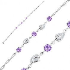 925 Silver bracelet – zircon leaves, purple zircons, teardrop-shaped segments