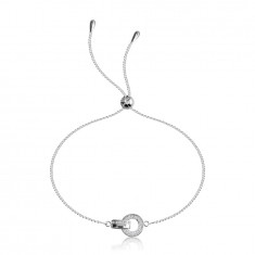 925 Silver bracelet – circle with zircons, link with a glossy and zircon surface