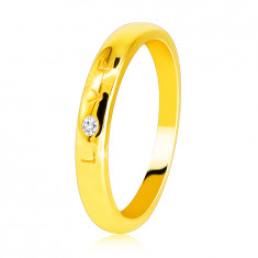 "Diamond band in 585 yellow gold – writing ""LOVE"" with a brilliant, smooth surface, 1,6 mm"