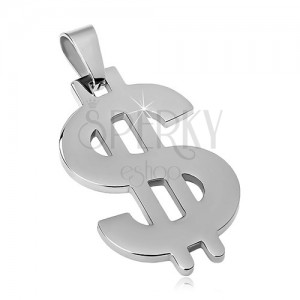 Pendant made of 316L steel in silver colour, dollar symbol