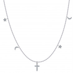 925 Silver necklace – cross, stars and moons, clear zircons