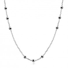 925 Silver necklace – beads, double-connected links, spring ring